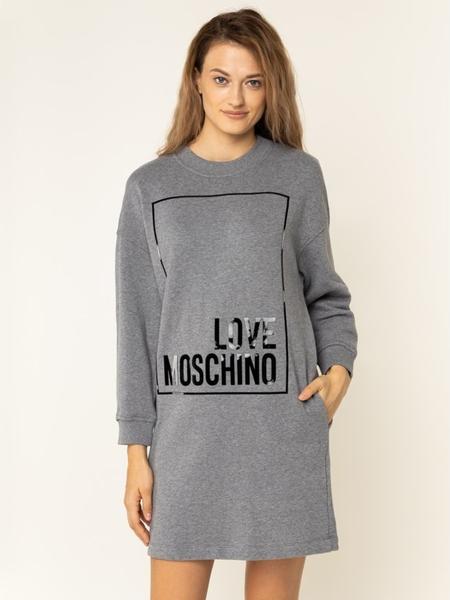 Sukienka Love Moschino mini z długim rękawem prosta