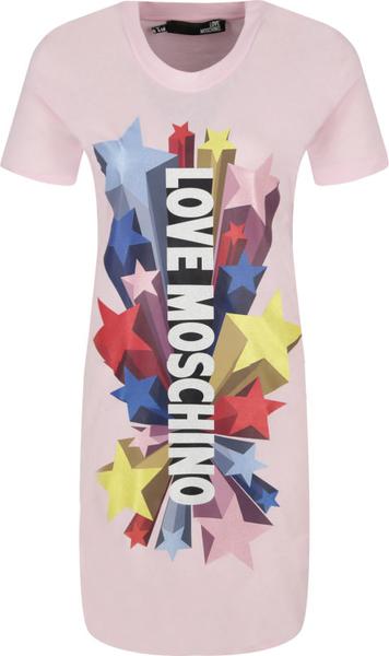 Sukienka Love Moschino prosta z okrągłym dekoltem mini