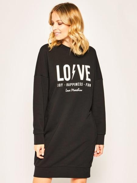 Sukienka Love Moschino w stylu casual prosta z długim rękawem