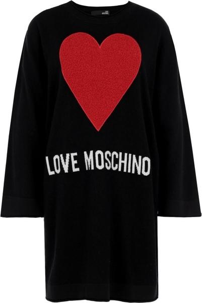 Sukienka Love Moschino z długim rękawem mini z wełny