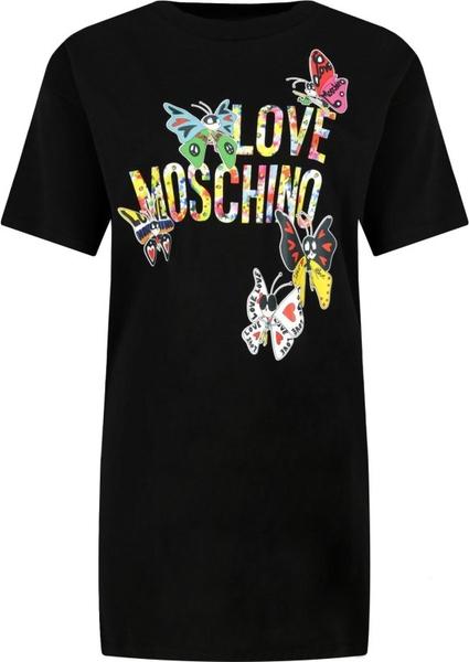 Sukienka Love Moschino z krótkim rękawem z okrągłym dekoltem mini