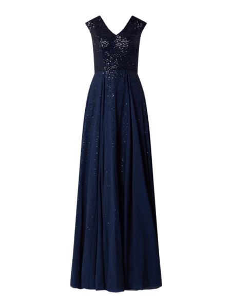 Sukienka Luxuar z dekoltem w kształcie litery v maxi bez rękawów