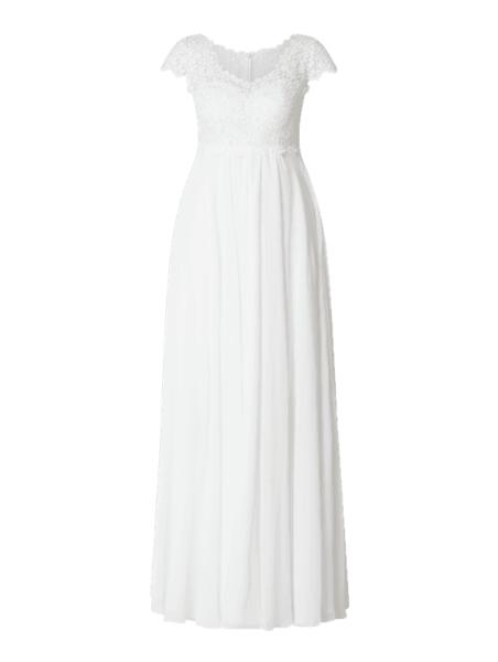 Sukienka Luxuar z dekoltem w kształcie litery v z szyfonu