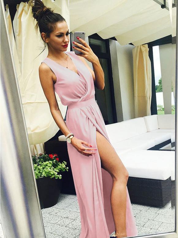 Sukienka magmac.pl z tkaniny bez rękawów z dekoltem w kształcie litery v