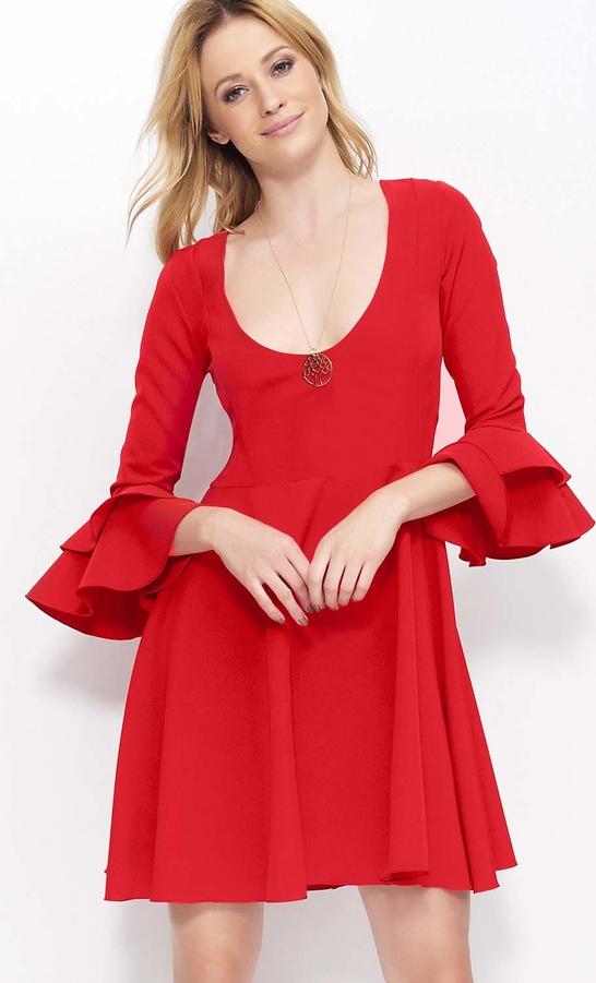 Sukienka Makadamia mini z okrągłym dekoltem