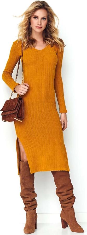 Sukienka Makadamia z długim rękawem prosta w stylu casual