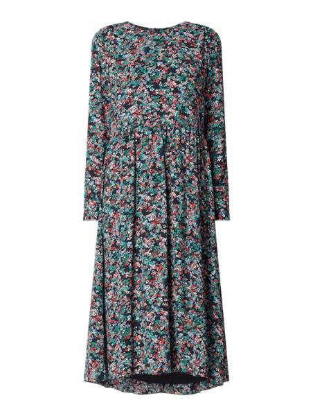Sukienka Marc O'Polo asymetryczna z okrągłym dekoltem z długim rękawem