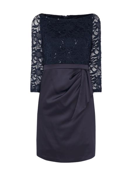 Sukienka Marie Noir w stylu glamour z długim rękawem
