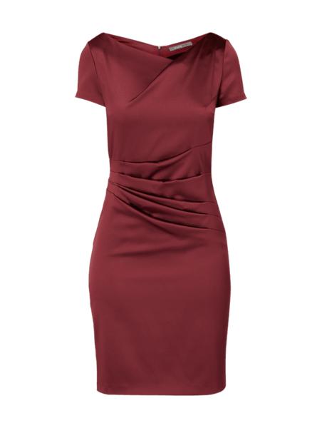 Sukienka Marie Noir z satyny z dekoltem w kształcie litery v