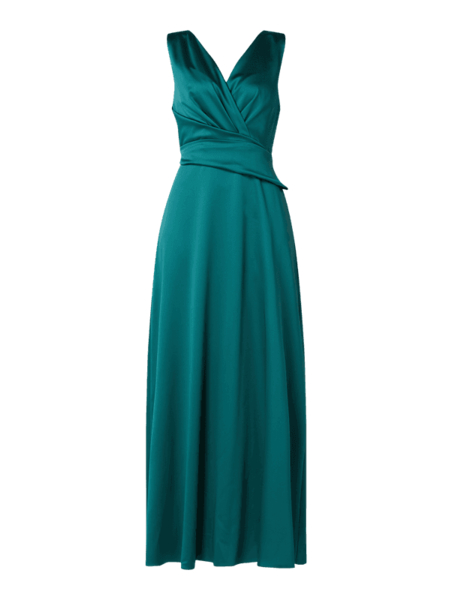 Sukienka Marie Noir z satyny z dekoltem w kształcie litery v maxi
