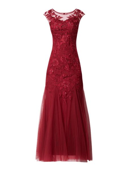 Sukienka Mascara maxi z okrągłym dekoltem z tiulu