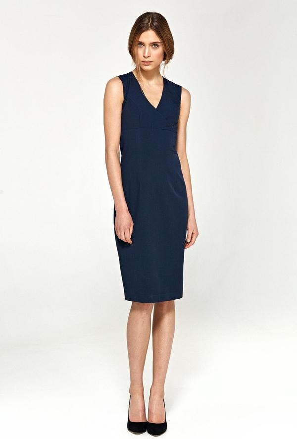 Sukienka Merg bez rękawów ołówkowa z dekoltem w kształcie litery v