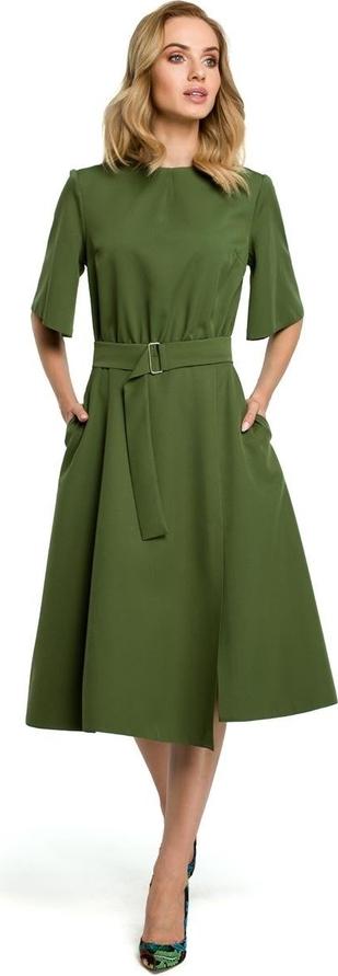 Sukienka Merg z długim rękawem z okrągłym dekoltem