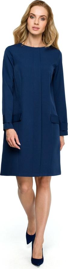 Sukienka Merg z długim rękawem z okrągłym dekoltem prosta