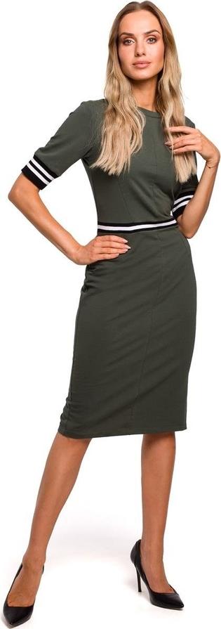 Sukienka Merg z okrągłym dekoltem midi
