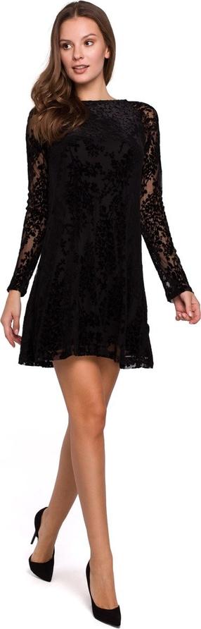 Sukienka Merg z okrągłym dekoltem mini z długim rękawem