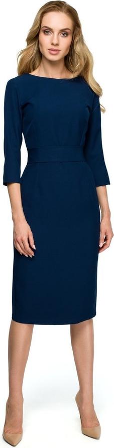 Sukienka Merg z okrągłym dekoltem ołówkowa z długim rękawem