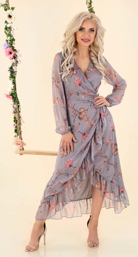 Sukienka MERRIBEL z długim rękawem w stylu casual rozkloszowana