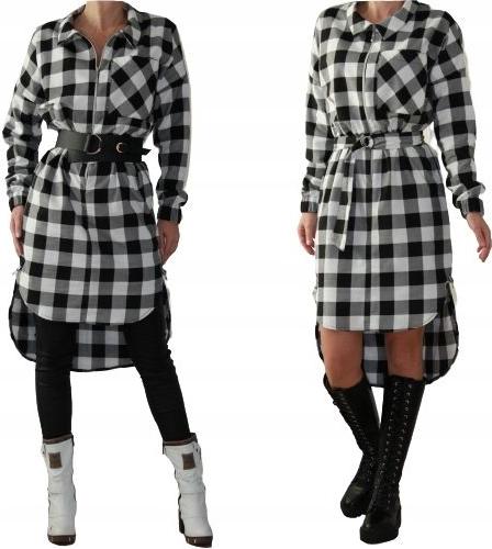 Sukienka Mm Fashion mini koszulowa z długim rękawem