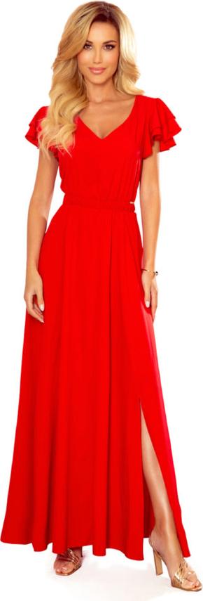 Sukienka Moda Dla Ciebie maxi z krótkim rękawem