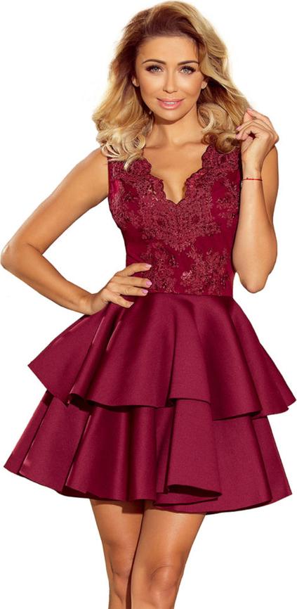 Sukienka Moda Dla Ciebie rozkloszowana bez rękawów z dekoltem w kształcie litery v