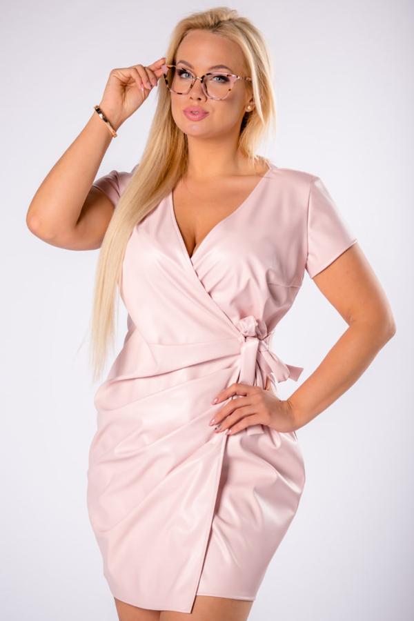 Sukienka Moda Dla Ciebie z dekoltem w kształcie litery v kopertowa ze skóry