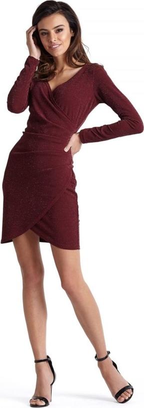 Sukienka Moda Dla Ciebie z tkaniny z długim rękawem