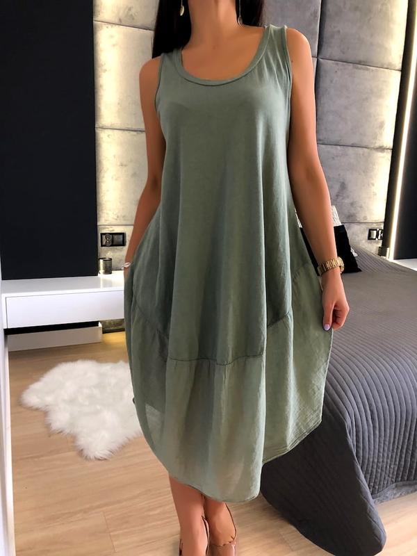 Sukienka ModnaKiecka.pl midi z bawełny asymetryczna