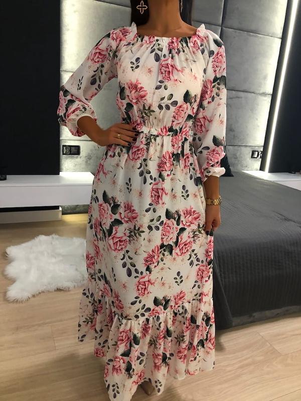 Sukienka ModnaKiecka.pl w stylu boho z długim rękawem
