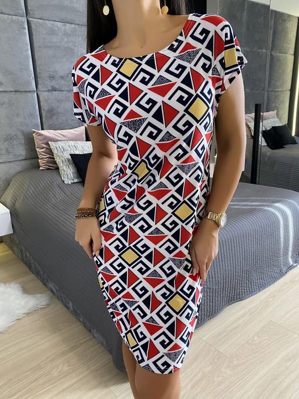 Sukienka ModnaKiecka.pl z dekoltem w kształcie litery v z krótkim rękawem w stylu casual