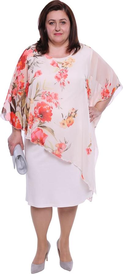 Sukienka modneduzerozmiary.pl midi w stylu casual z okrągłym dekoltem