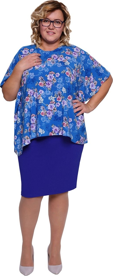 Sukienka modneduzerozmiary.pl ołówkowa midi z okrągłym dekoltem