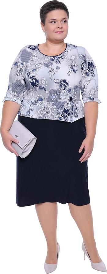 Sukienka modneduzerozmiary.pl z długim rękawem midi z okrągłym dekoltem