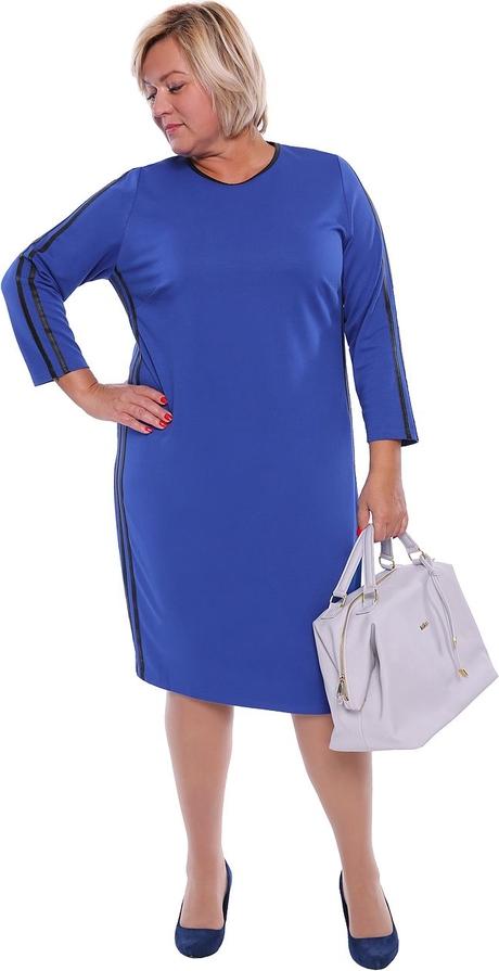 Sukienka modneduzerozmiary.pl z okrągłym dekoltem midi z długim rękawem