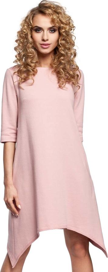 Sukienka MOE asymetryczna z krótkim rękawem z okrągłym dekoltem