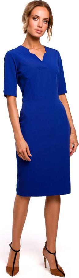 Sukienka MOE dopasowana z krótkim rękawem midi