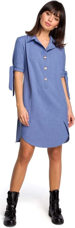Sukienka MOE koszulowa w stylu casual z lnu