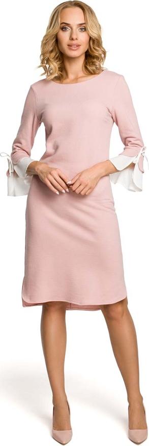 Sukienka MOE midi z długim rękawem z okrągłym dekoltem