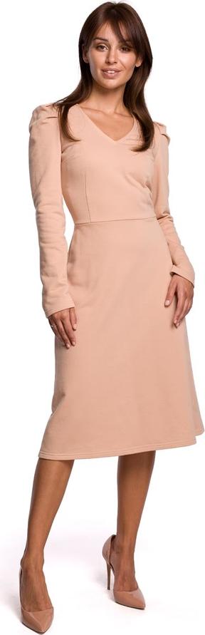 Sukienka MOE trapezowa z dekoltem w kształcie litery v z długim rękawem