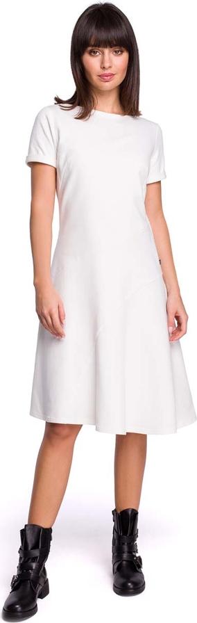 Sukienka MOE w stylu casual midi z okrągłym dekoltem