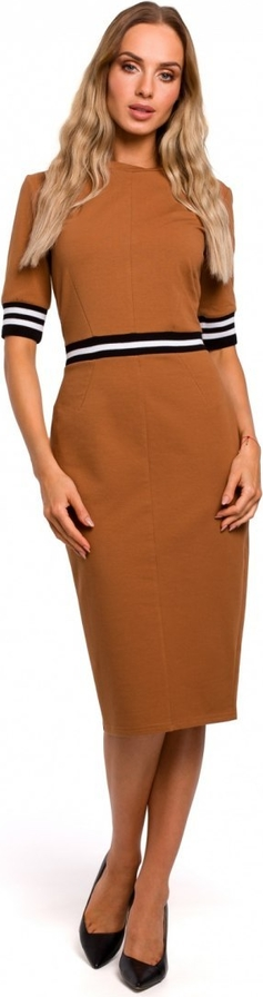 Sukienka MOE w stylu casual z długim rękawem midi