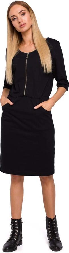 Sukienka MOE w stylu casual z okrągłym dekoltem midi