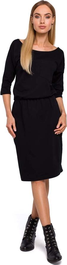 Sukienka MOE z bawełny z długim rękawem w stylu casual