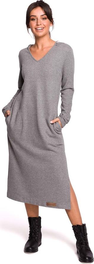 Sukienka MOE z dekoltem w kształcie litery v z bawełny z długim rękawem
