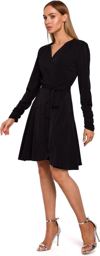Sukienka MOE z dekoltem w kształcie litery v z tkaniny z długim rękawem