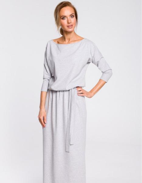 Sukienka MOE z długim rękawem maxi z bawełny
