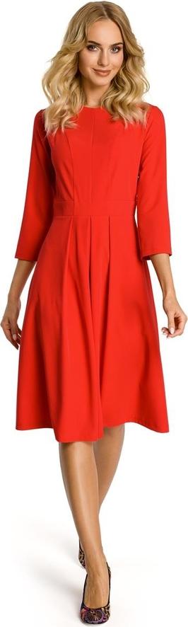 Sukienka MOE z długim rękawem midi z dekoltem w łódkę