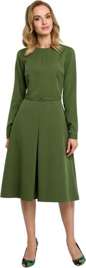 Sukienka MOE z długim rękawem midi z tkaniny