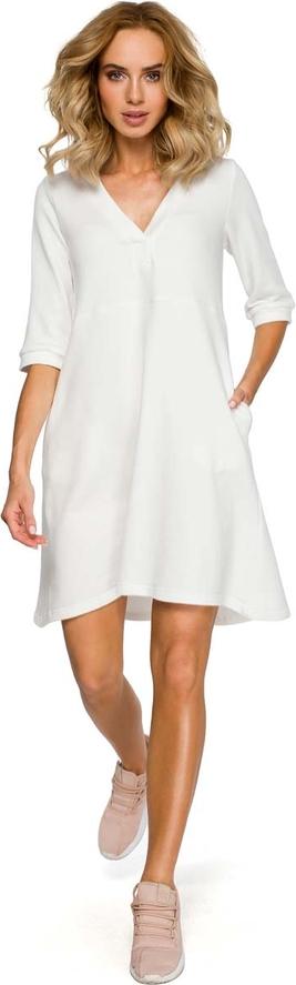 Sukienka MOE z długim rękawem trapezowa z bawełny