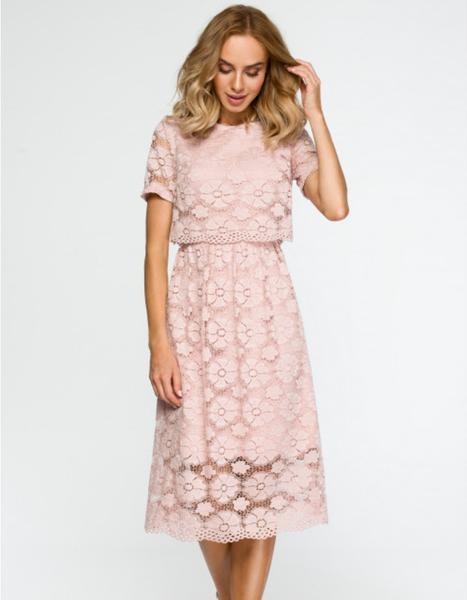 Sukienka MOE z krótkim rękawem midi z okrągłym dekoltem